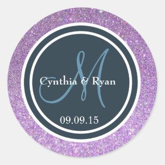 Purple Glitter & Dark Blue Wedding Monogram Seal Round Sticker