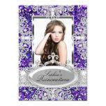 Purple Glitter & Diamond Glamour Quinceanera 13 Cm X 18 Cm Invitation Card