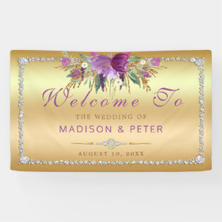 Purple Glitter Flowers Diamonds Gold Wedding Banner