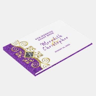 Purple Glitter Gold Gemstone Wedding Guest Book