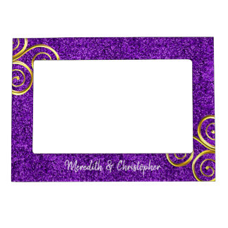 Purple Glitter Gold Swirls Wedding