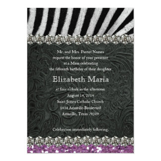 "Purple Glitter Look Black Zebra Quinceanera 5.5"" X 7.5"" Invitation Card"
