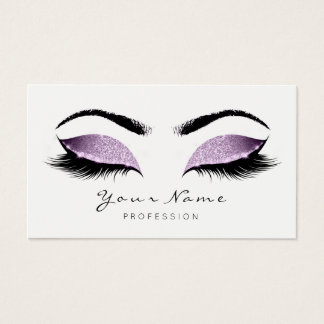 Purple Glitter Makeup Beauty Lashes Studio SPA Business Card