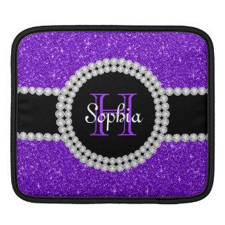 Purple Glitter Monogrammed Rickshaw iPad Sleeve