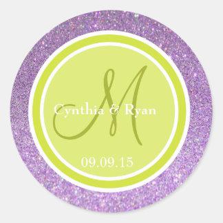 Purple Glitter & Pear Green Wedding Monogram Round Stickers