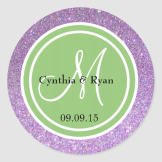 Purple Glitter & Pistachio Green Wedding Monogram Classic Round Sticker