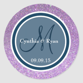 Purple Glitter & Prussian Blue Wedding Monogram Round Sticker