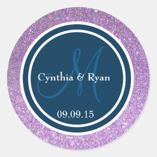 Purple Glitter & Prussian Blue Wedding Monogram Round Sticker