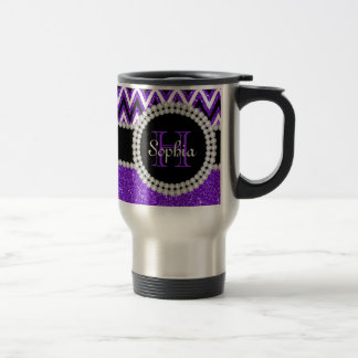 Purple Glitter Purple Chevron Monogram Travel Mug