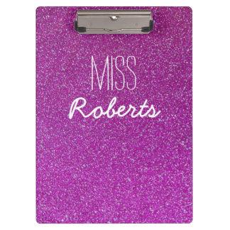 Purple Glitter Teacher (Customisable) Clipboard