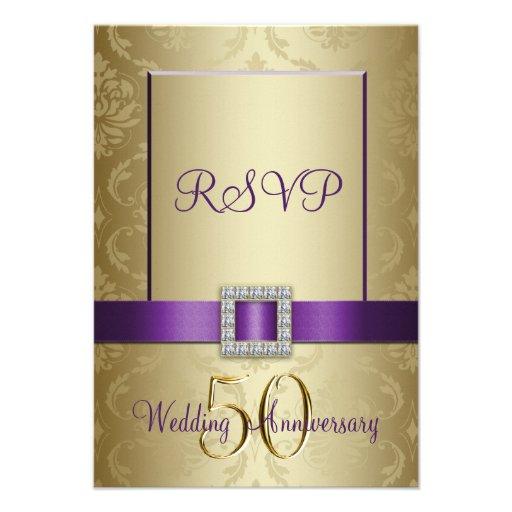Purple Gold 50th Wedding Anniversary RSVP Card Personalized Invites