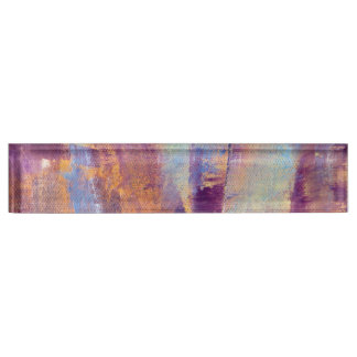 Purple & Gold Abstract Oil Painting Metallic Nameplates