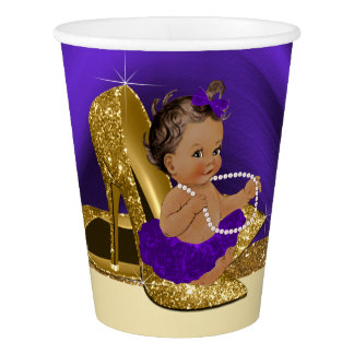 Purple Gold Baby Shower Paper Cups