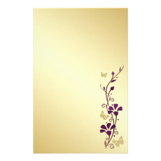 Purple, Gold Floral Butterflies Wedding Stationery