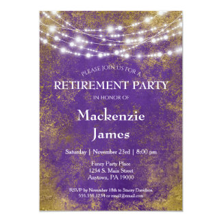 Purple Gold Lights Retirement Party Invitation