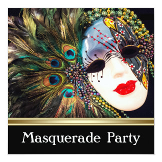 Purple Gold Peacock Feather Mask Masquerade Party Card