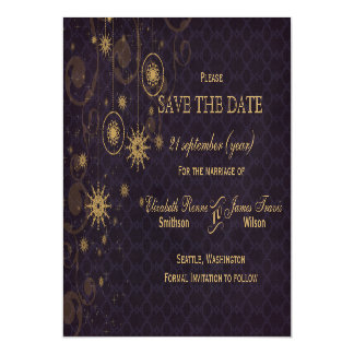 purple gold Snowflakes Winter save the date Magnetic Invitations