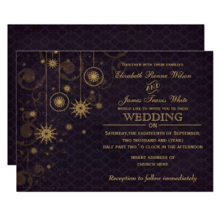 purple gold Snowflakes Winter wedding invitations