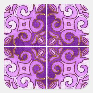 Purple Gold Swirl Inspired by Portuguese Azulejos Square Sticker