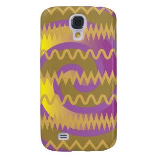 Purple Gold Swirls Waves Chevron Pattern Galaxy S4 Case