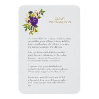 Purple Gold Watercolor Wedding Guest Insert Card