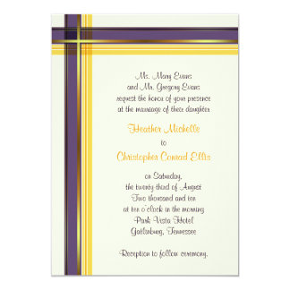 Purple & Golden Yellow Plaid Wedding Invitation