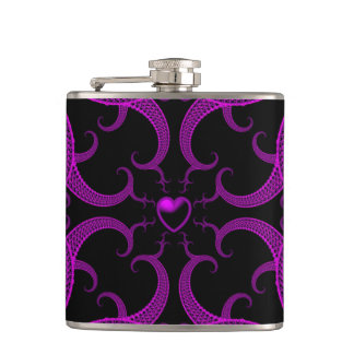 Purple Gothic Heart Fractal Hip Flask