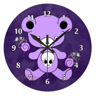 Purple Gothic Teddy Bear Wallclocks