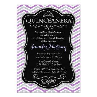 Purple Gray White Chevron Stripes Custom Invites