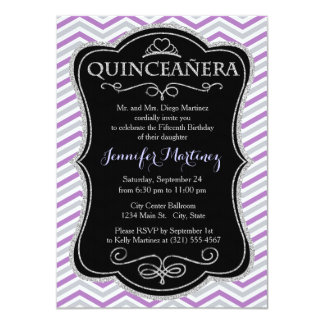 Purple, Gray, White Chevron Stripes Custom Invites