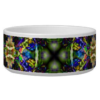 Purple Green and Blue Mandala Fractal Pattern Dog Bowls