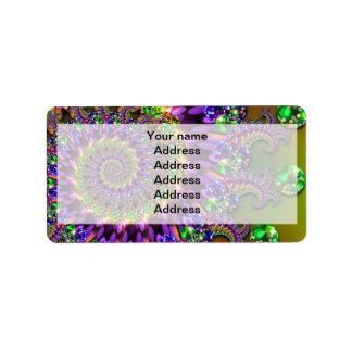 Purple & Green Bokeh Fractal Pattern Address Label