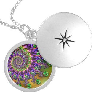 Purple & Green Bokeh Fractal Pattern Locket Necklace