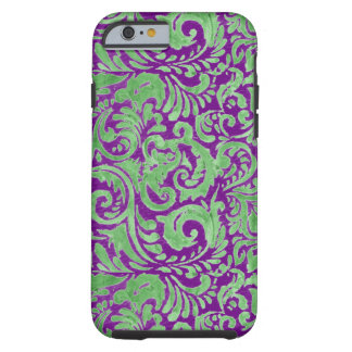 Purple Green Floral Batik Tough iPhone 6 Case