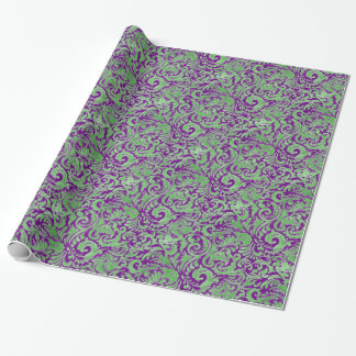 Purple Green Floral Batik Wrapping Paper
