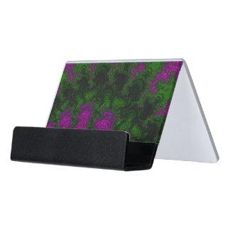 Purple Green Fractal Abstract Desk Business Card Holder