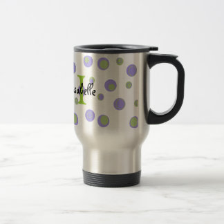 Purple Green Polka Dots Monogrammed Stainless Steel Travel Mug