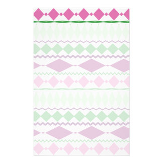 Purple Green Tribal Geometric Pattern Stationery