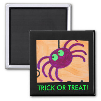 purple greeneyed spider, TRICK OR TREAT! Square Magnet