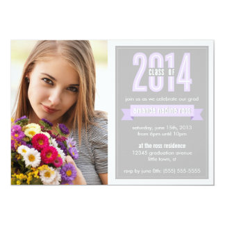 "Purple Grey Banner Class of 2014 Photo Graduation 5"" X 7"" Invitation Card"