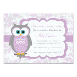 Purple, Grey, Owl Baby Shower Invitations - 730