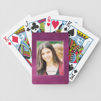 Purple Grunge Photo Frame Playing Cards