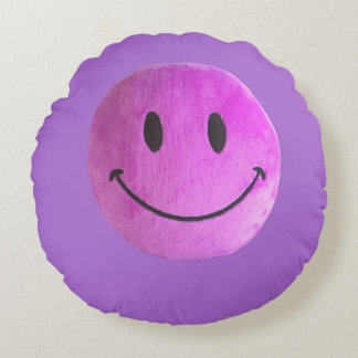 Purple happy face old style round pillow