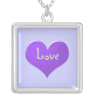 """Purple heart with """"Love"""" in shiny mauve Silver Plated Necklace"""