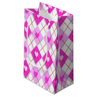 Purple Hearts Argyle Small Gift Bag