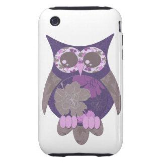 Purple Hibiscus Owl Case Tough iPhone 3 Case