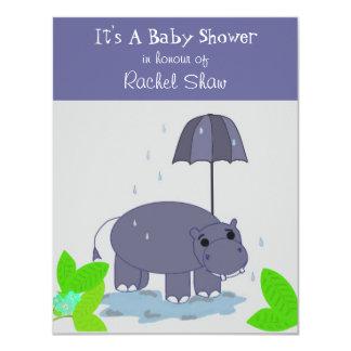 Purple Hippopotamus Baby Shower Invitation