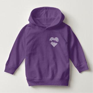 Purple hoodie - Cute white heart