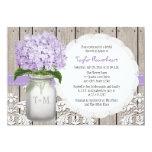 Purple Hydrangea Monogram Mason Jar Bridal Shower Personalized Invitation