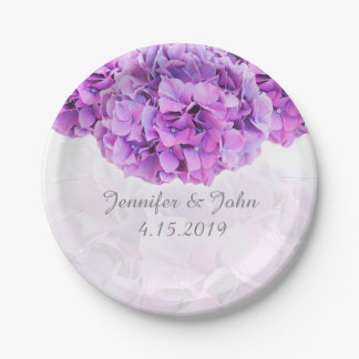 Purple Hydrangea Wedding Collection Paper Plate 7 Inch Paper Plate